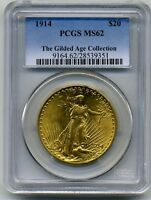1914 ST. GAUDENS $20 DOUBLE EAGLE GILDED AGE COLLECTION PEDIGREE PCGS MS62