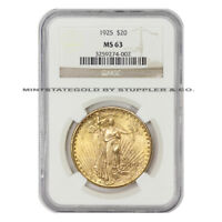 1925 $20 SAINT GAUDENS NGC MS63 CHOICE GRADED PHILADELPHIA GOLD DOUBLE EAGLE