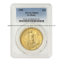 1908 $20 SAINT GAUDENS PCGS MS64 NM NO MOTTO GOLD DOUBLE EAGLE CHOICE GRADED