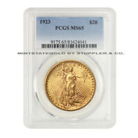 1923 $20 SAINT GAUDENS PCGS MS65 GRADED GOLD DOUBLE EAGLE COINSTATS GEM COIN