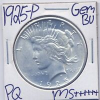 1925-P PEACE DOLLAR UNCIRCULATED US MINT GEM PQ SILVER COIN BU UNC MS