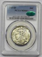 1947-D PCGS MINT STATE 66 CAC WALKING LIBERTY HALF ORIGINALLY TONED BOOMING LUSTER PQ