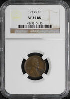 1913-S LINCOLN WHEAT CENT NGC VF-35 BN -141158
