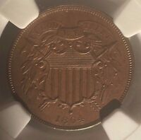 1864 TWO CENT PIECE LARGE MOTTO NGC MINT STATE 64 BN :  SURFACES AND CRISP DETAIL