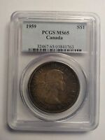 Click now to see the BUY IT NOW Price! 1959 PCGS MS65 $1 CANADA ONE DOLLAR TONED