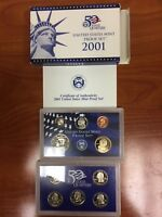 2001 50 STATE QUARTERS UNITED STATES MINT PROOF SET WITH COA