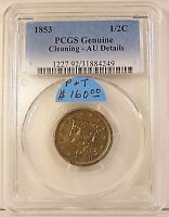 1853 BRAIDED HAIR HALF CENT IN PCGS AU DETAILS CLEANED