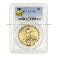 1924 $20 SAINT GAUDENS PCGS MS63 PQ APPROVED PHILADELPHIA DOUBLE EAGLE GOLD COIN