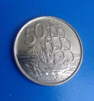 NEW ZEALAND 2009   50 CENT COIN    ENDEAVOUR   BEAUTIFUL FINE CONDITION