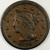 1846 BRAIDED HAIR LIBERTY HEAD LARGE CENT   NICE US COPPER COIN