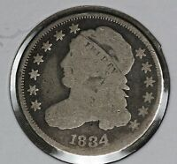 ORIGINAL PROBLEM-FREE 1834 CAPPED BUST DIME - G/VG COIN