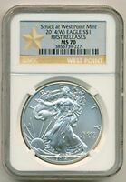 2014 1 OUNCE SILVER EAGLE DOLLAR WEST POINT MINT MS70 NGC FIRST RELEASES