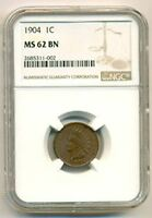 1904 INDIAN HEAD CENT MINT STATE 62 BN NGC