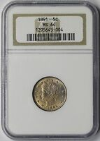 1891 LIBERTY HEAD NICKEL 5C MINT STATE 64 NGC