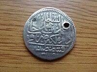 AUTHENTIC OTTOMAN SILVER COIN 15 PARA 1/2 ZOLTA 1115 AH AHMED III 1703 1730 AD.