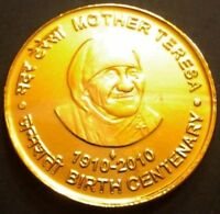 INDIA REPUBLIC 5 RUPEES 2010 MOTHER THERESA ANNIVERSARY OF BIRTH:GOLD PLATED