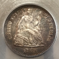 1862 P H10C LIBERTY SEATED HALF DIME AU CIVIL WAR DATE