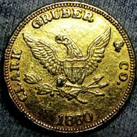 1860 CLARK GRUBBER & CO. PIKES PEAK GOLD $20 MEDAL GOLD LINE TOKEN