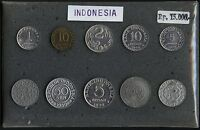 INDONESIA SEALED MIXED DATE MINT SET 1950S 1970S    10 UNCIRCULATED COINS