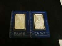 LOT OF 2   PAMP SWISS  1 ONE OUNCE SILVER BARS    CONSECUTIVE NUMBER RUN