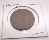 1897 UK GREAT BRITAIN BRITISH ONE 1 PENNY  QUEEN VICTORIA COIN