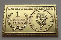 1979 NUMISTAMP MEDAL STAMP BY MORT REED 1843 LIBERTY HEAD 1 DOLLAR COIN PLAQUE