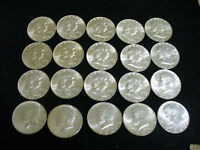 LOT OF 20 1954 D 1963 D 1964  USA  HALF DOLLAR SILVER COINS  50 CENT PIECES