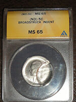 HUGE INDENT ON BROADSTRUCK JEFFERSON NICKEL  ND  MS 65 FISH TAIL JEFFERSON