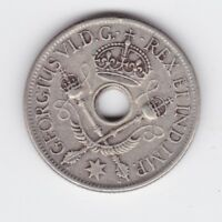 1938 TERRITORY OF NEW GUINEA STERLING SILVER ONE SHILLING COIN HOLED P 482
