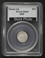 2004 $10 PLATINUM EAGLE STATUE OF LIBERTY 1/10 OZ PCGS MS 69  146444