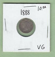 1888 CANADIAN 5 CENTS SILVER COIN   VG