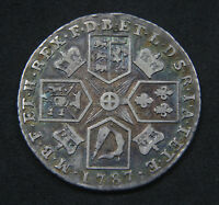 GEORGE III 1787 SHILLING WITH HEARTS AVF