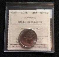 CANADA 1978 25 CENTS ICCS GRADED MS 64 SMALL DENTICLES HIGH GRADE