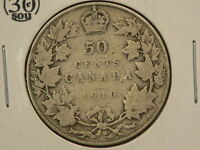 CANADA 1910 SILVER 50 CENTS EDWARDIAN LEAVES VARIETY G8972