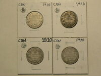 CANADA 1910 SILVER 25 CENTS LOT OF 4 COINS STERLING  G9051