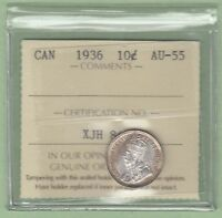 1936 CANADIAN 10 CENTS SILVER COIN   ICCS GRADED AU 55