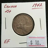 CANADA 1942 25 CENTS SILVER GEORGE VI NICE SILVER COIN LOT611