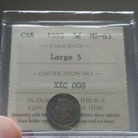 Click now to see the BUY IT NOW Price! 1885 CANADA 5 CENTS   ICCS MS 63 LARGE 5   BOOK VALUE $4000   ULTRA