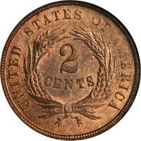 1864 TWO-CENT PIECE. LARGE MOTTO. MINT STATE 64 RB NGC. CAC.