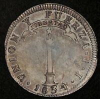 1834 CHILE 2 REALES SILVER MEDAL ROTATION KM 92