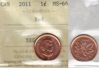 2011 ICCS MS66 1 CENT MAGNETIC RED CANADA ONE PENNY