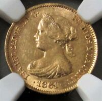 1861 GOLD SPAIN 20 REALES QUEEN ISABEL II NGC MINT STATE 61