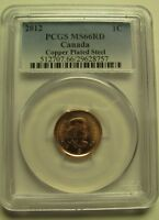 2012 PCGS MS66 1 CENT RD COPPER PLATED STEEL  RED MAGNETIC  CANADA ONE PENNY