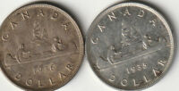 1935 & 1936 CANADIAN SILVER $1 DOLLAR COINS