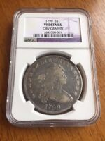 1799 DRAPED BUST SILVER DOLLAR COIN NGC CERTIFIED VF DETAILS