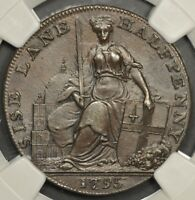 1795 NGC MS63BN GREAT BRITAIN CONDER TOKEN MIDDLESEX DAVIDSO