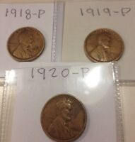 1918 P, 1919 P & 1920 P LINCOLN CENTS