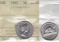 1963 ICCS MS65 5 CENTS CANADA FIVE NICKEL