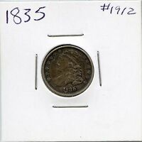 1835 10C CAPPED BUST SILVER DIME. CIRCULATED. LOT 1605