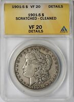 1901-S $1 ANACS VF 20 DETAILS SCRATCHED - CLEANED MORGAN SILVER DOLLAR